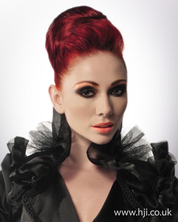 Brilliant red updo from Patrick Cameron