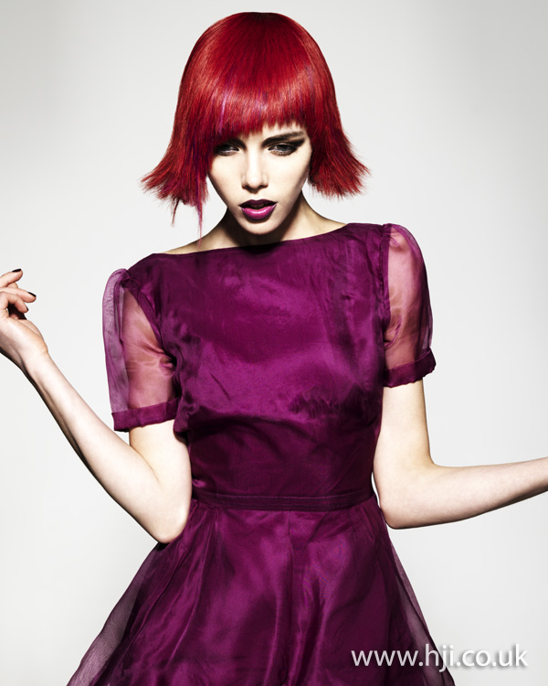 Vibrant red bob hairstyle
