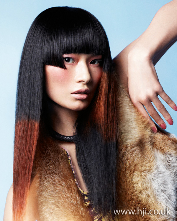 2012 asymmetric fringe dip dyed womens hairstyle