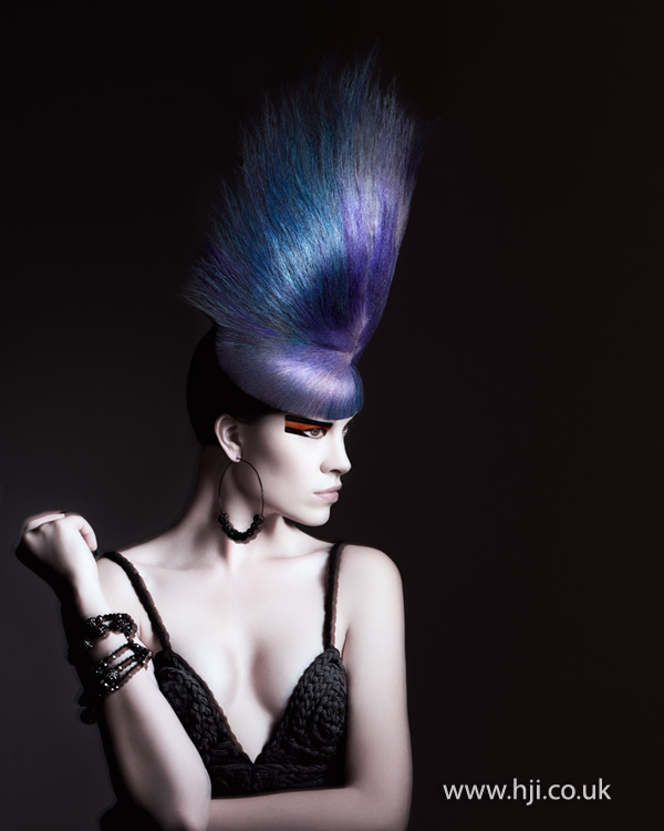 2012 avant garde blue and purple ultra beehive hairstyle