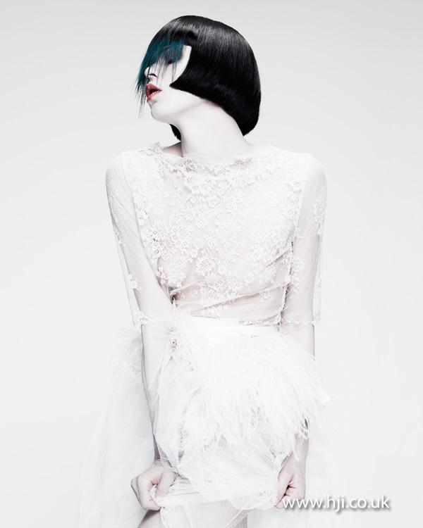 2012 black bob long fringe womens hairstyle