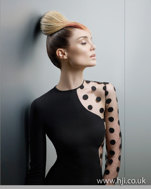 2012 blonde and peach updo hairstyle