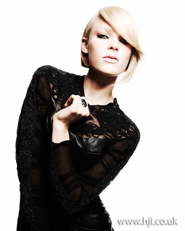 2012 blonde asymmetric fringe womens hairstyle
