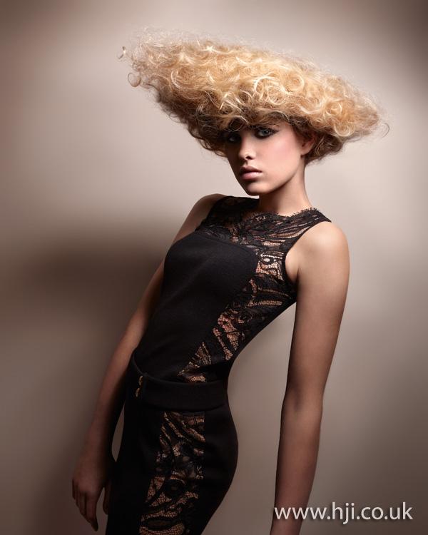2012 blonde avant garde curly hairstyle