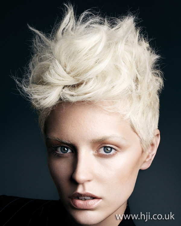 2012 blonde backcombed texture short hairstyle