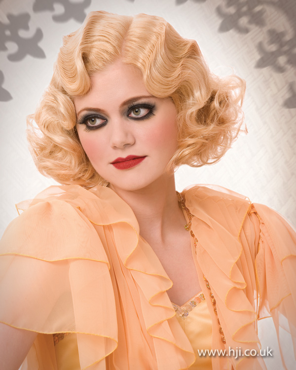 2012 blonde finger waves womens vintage hairstyle