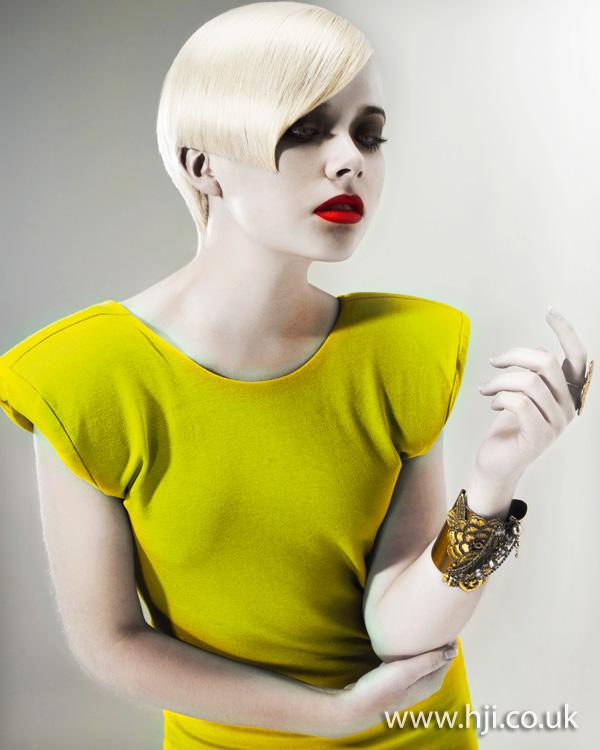 2012 blonde short side fringe hairstyle