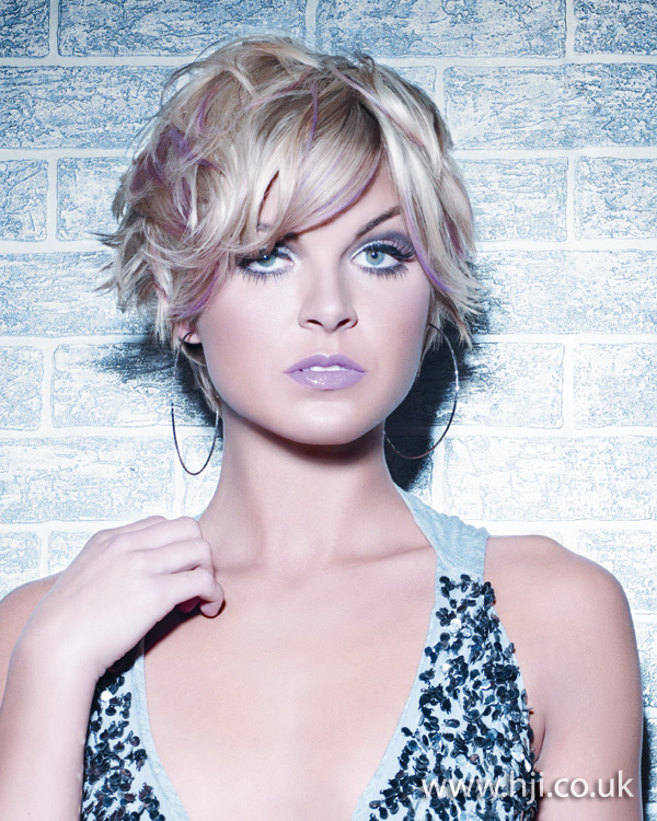 2012 blonde tousled womens hairstyle pink streaks