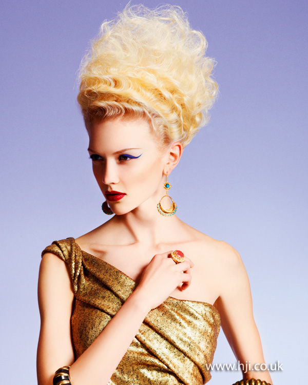 2012 blonde waved updo womens hairstyle