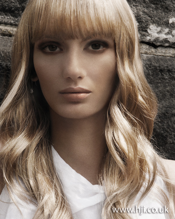 2012 blonde womens hairstyle fringe waves