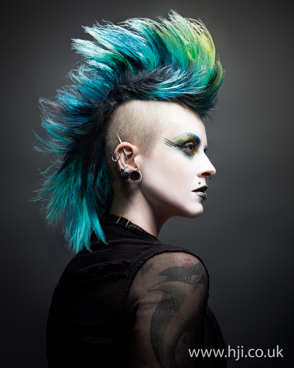 2012 blue and green mohican hairstyle