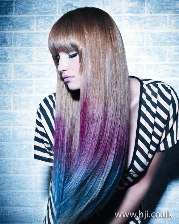 2012 blue and purple dip dye long hair
