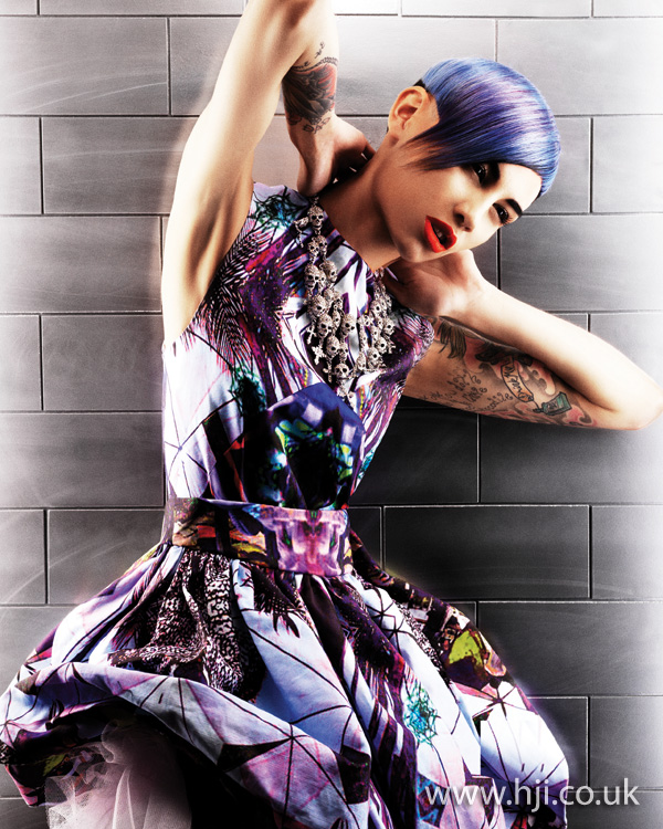 2012 blue and purpled short hairstyle