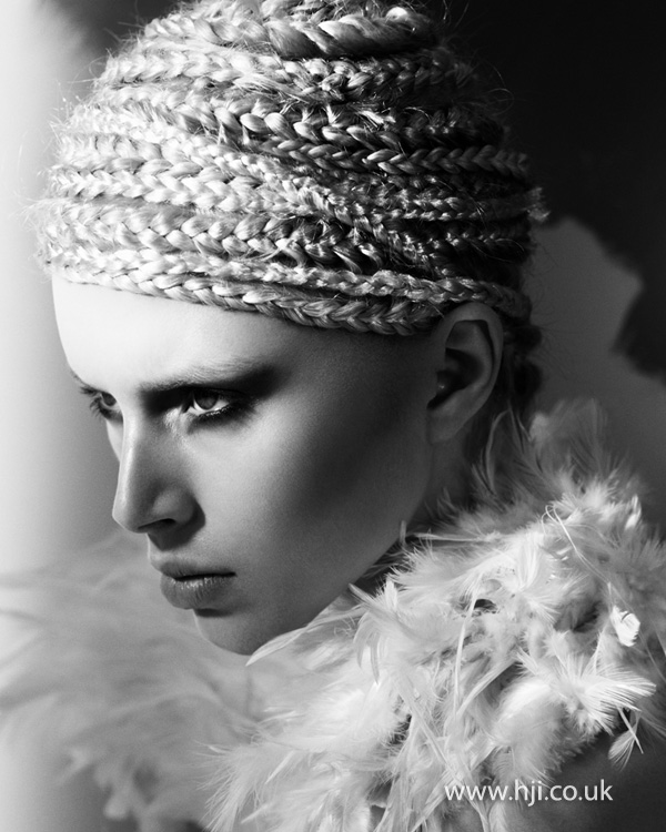 2012 braids wrapped round head womens hairstyle