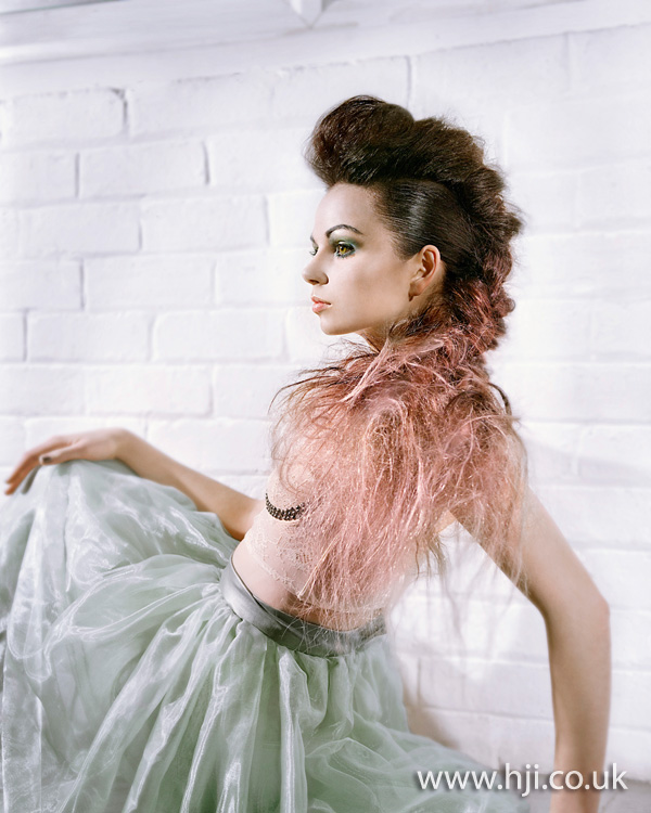 2012 brunette and pink quiff plait womens hairstyle