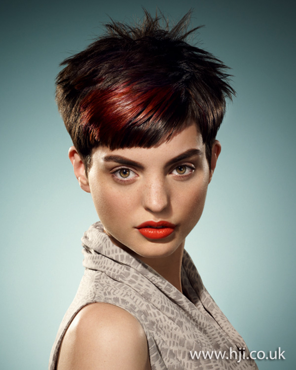 2012 brunette and red short spikey womens hairstyle