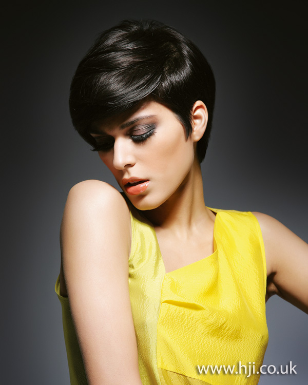 2012 brunette shiny short womens hairstyle