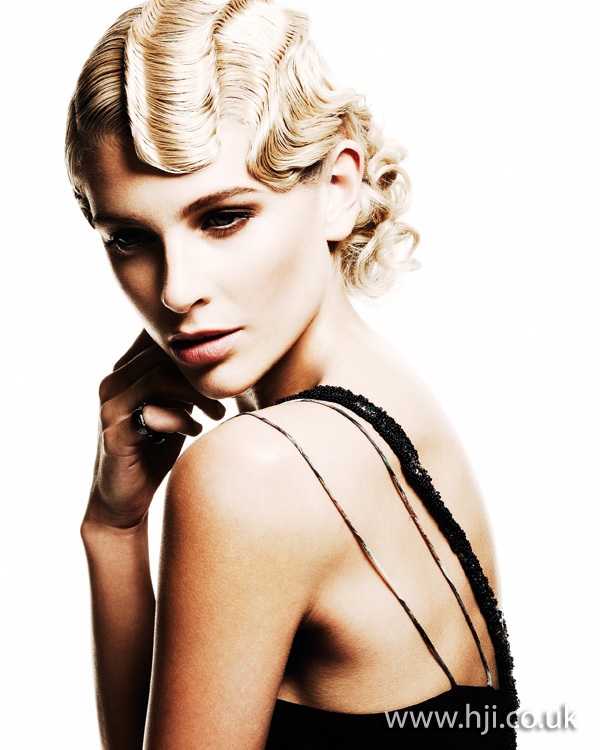 2012 finger waves updo blonde hairstyle