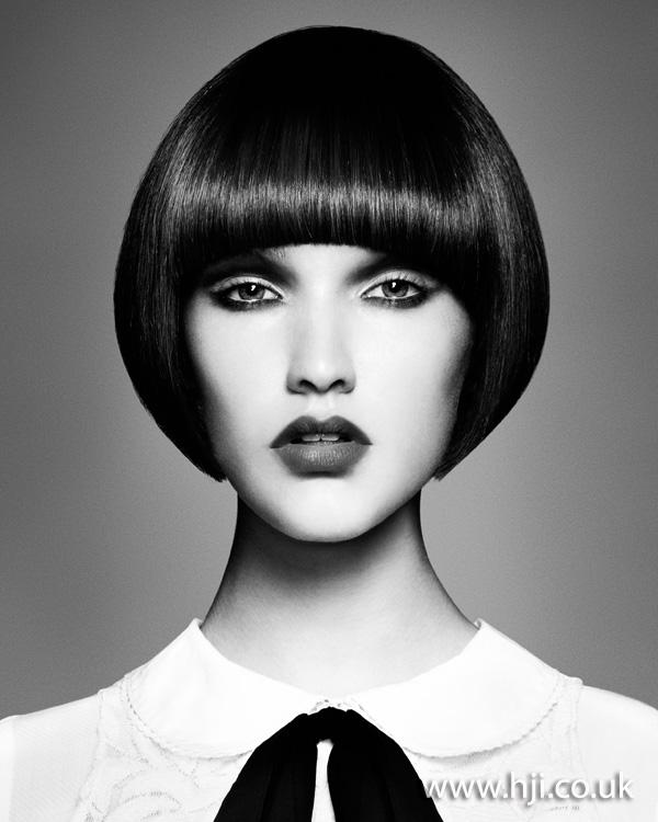 2012 fringe dark brunette sleek bob womens hairstyle