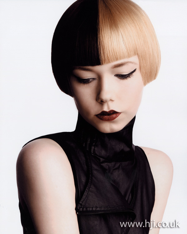 2012 half and half hair dye womens bob hairstyle