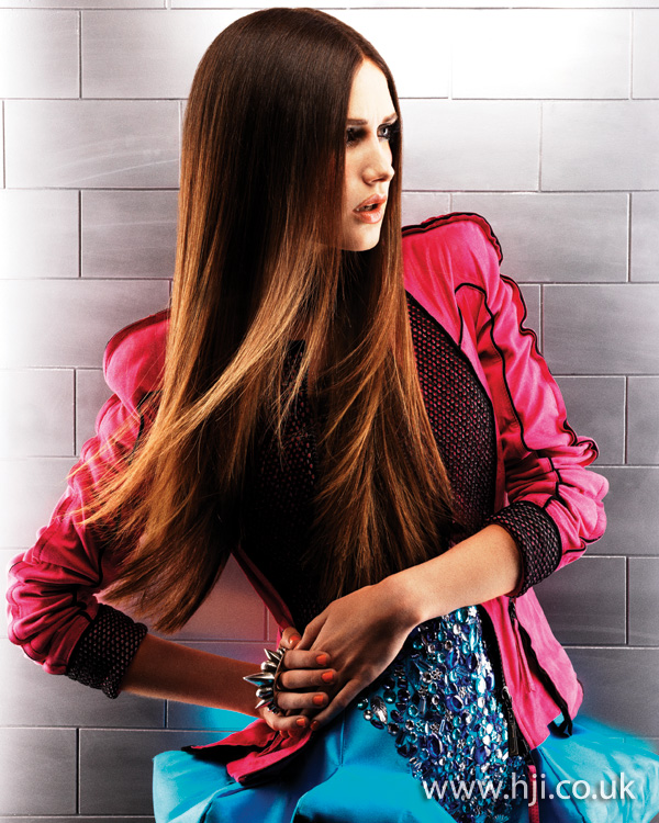 2012 long brunette dip dyed hairstyle