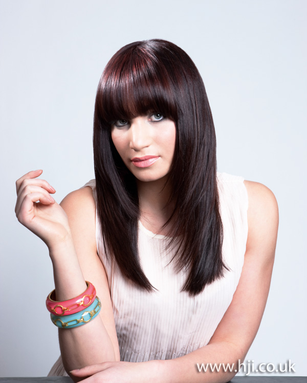 2012 long brunette fringe straight womens hairstyle