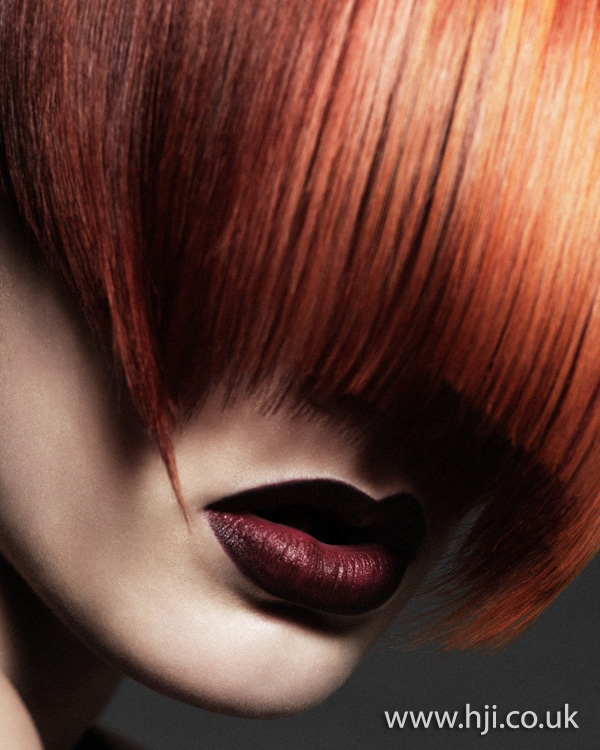 2012 long fringe red womens hairstyle