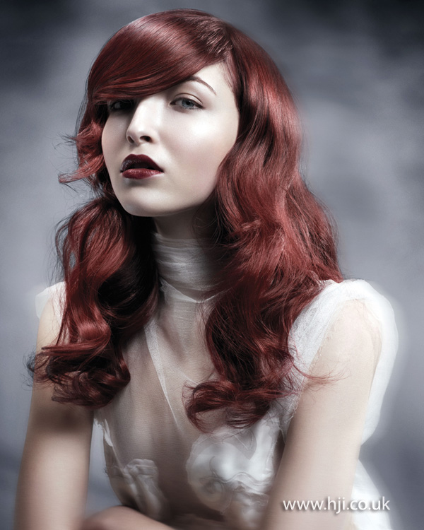 2012 long smooth red waves womens hairstyle