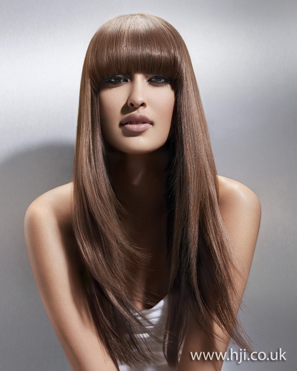 2012 long straight hair blunt fringe hairstyle