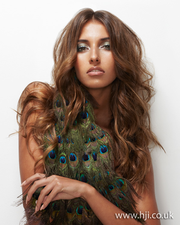 2012 long tousled brunette waves womens hairstyle