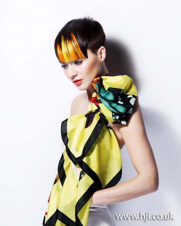 2012 orange and blonde fringe womens creative hairstyle