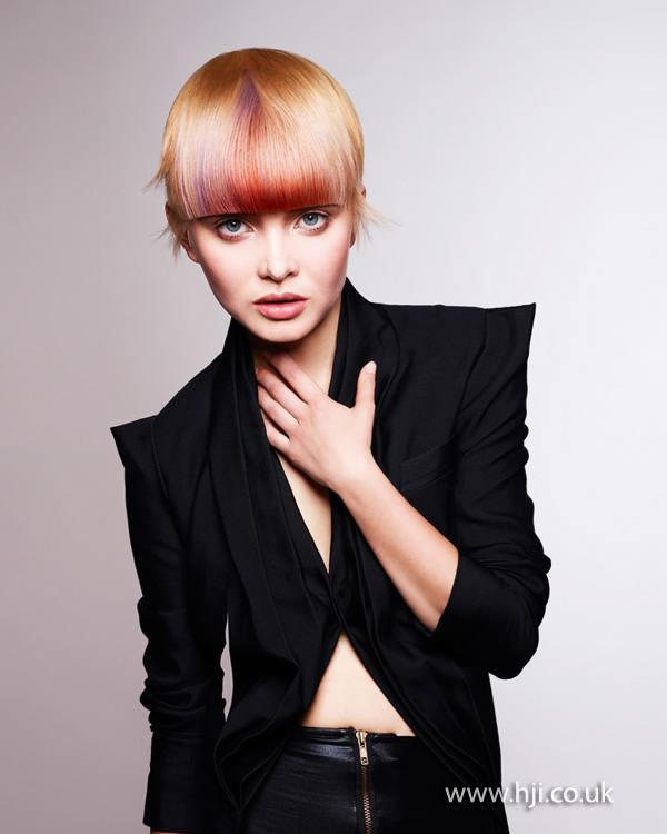 2012 peach and blonde womens hairstyle short