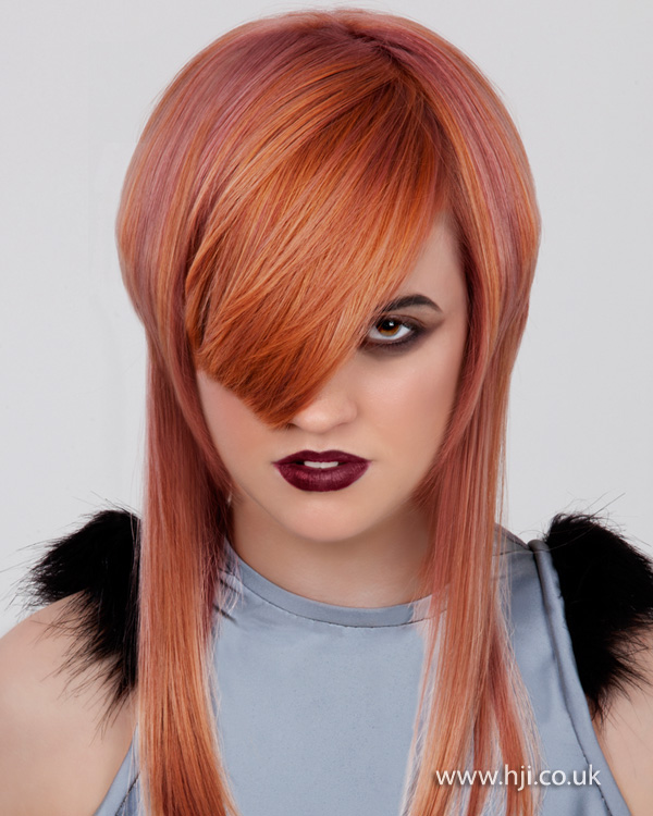 2012 peach colour two length hairstyle