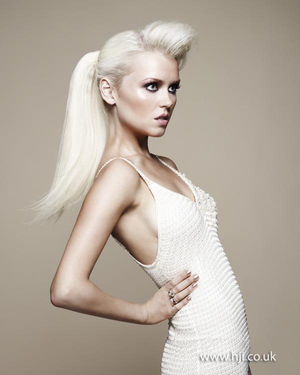 2012 platinum blonde ponytail quiff hairstyle