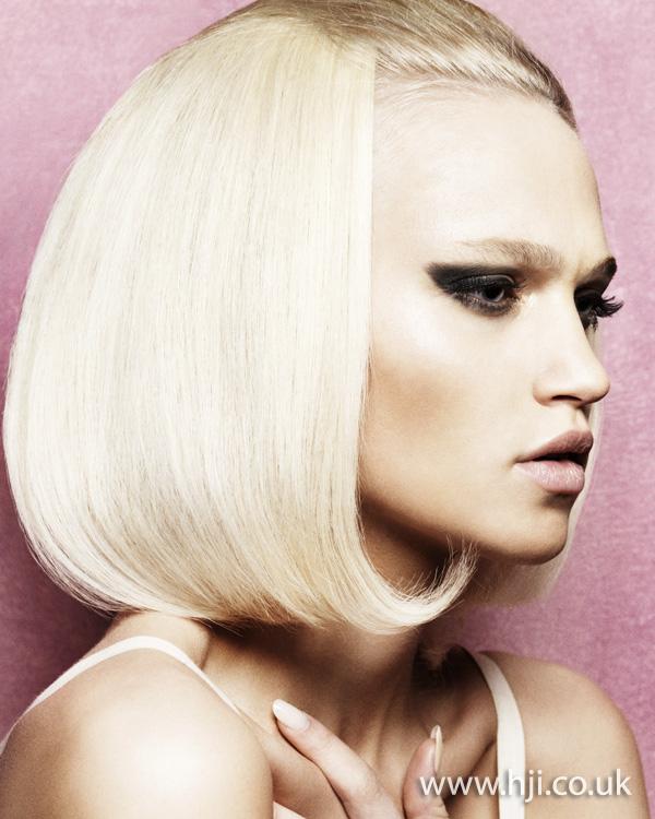 2012 platinum blonde womens rolled under hairstyle