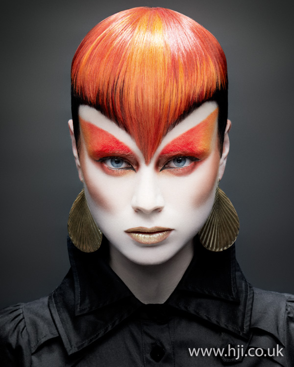 2012 pointed red fringe hairstyle