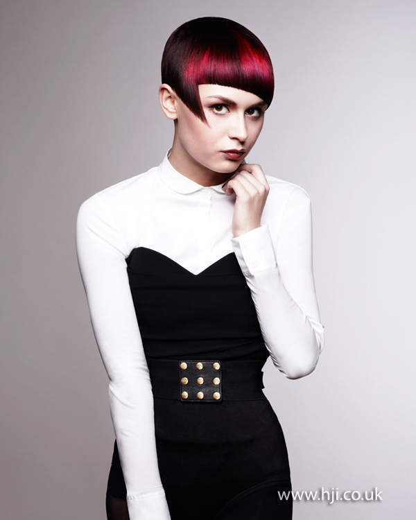 2012 red and pink short womens hairstyle