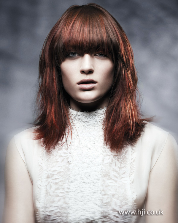 2012 red brown copper heavy fringe womens hairstyle
