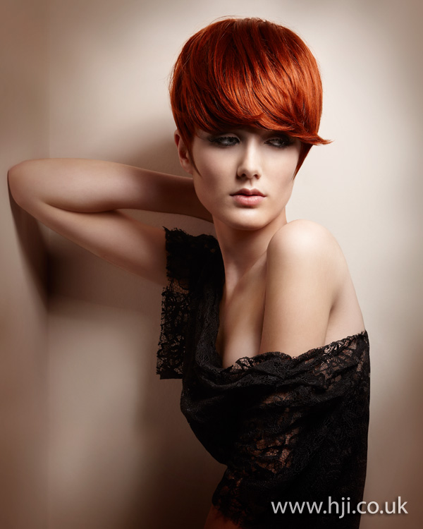 2012 red short fringe womens hairstyle