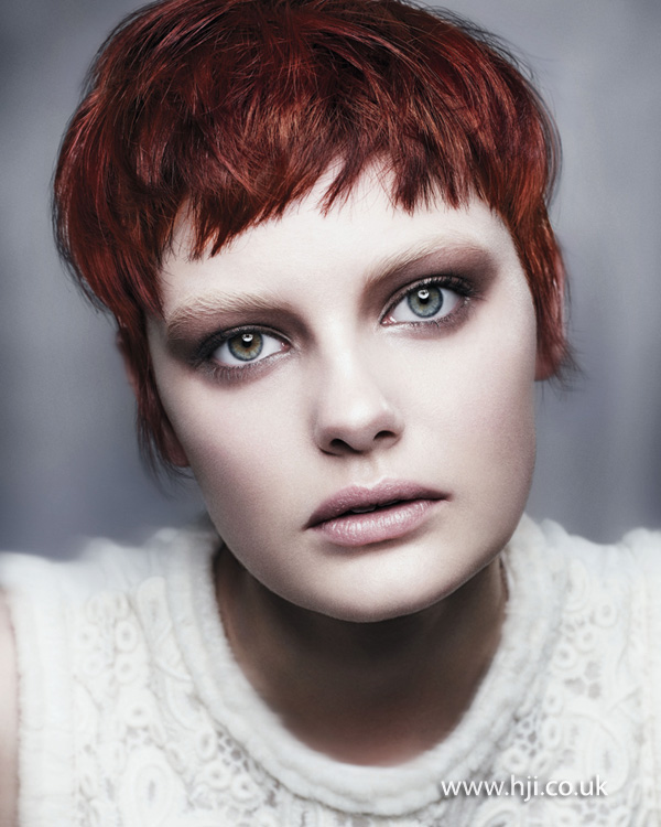 2012 redhead tousled cropped womens hairstyle