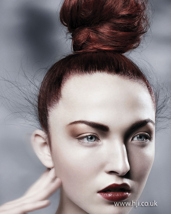 2012 redhead wispy topknot womens hairstyle