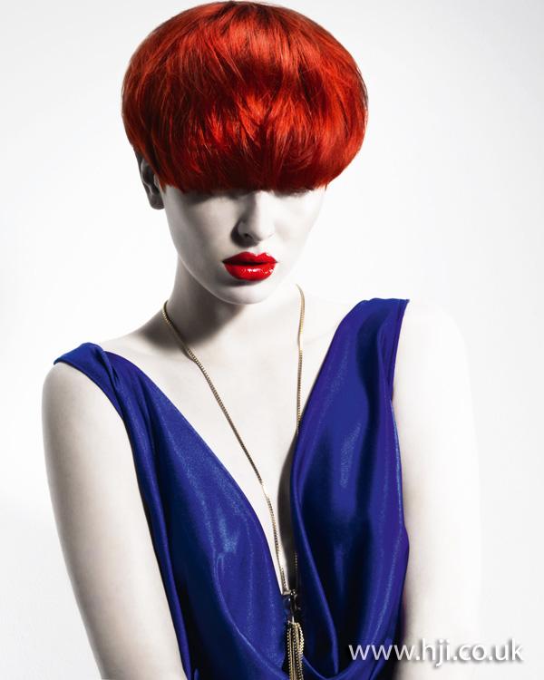 2012 short red heavy fringe hairstyle