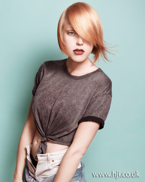 2012 short womens hairstyle blonde peach tones