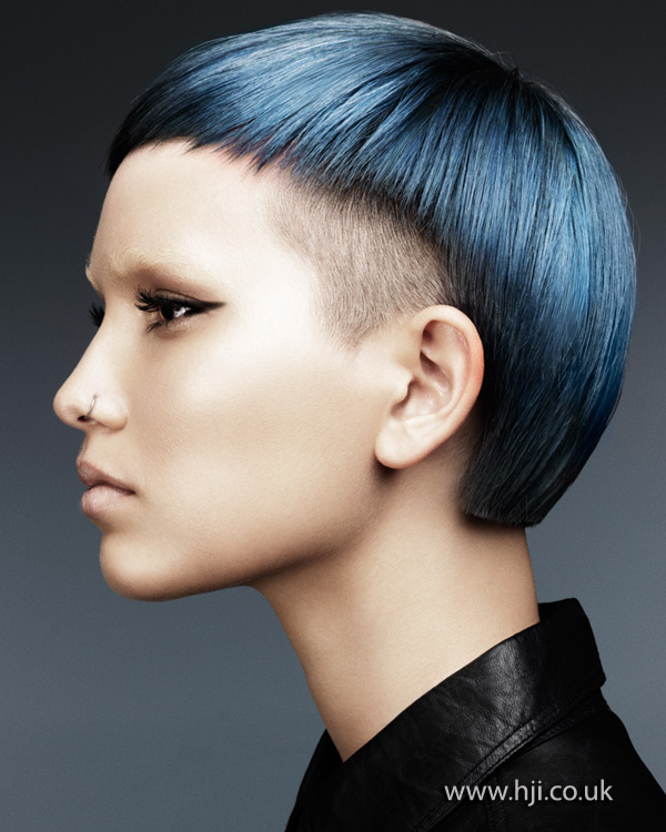 2012 Steel Blue Shaved Sides Womens Hairstyle