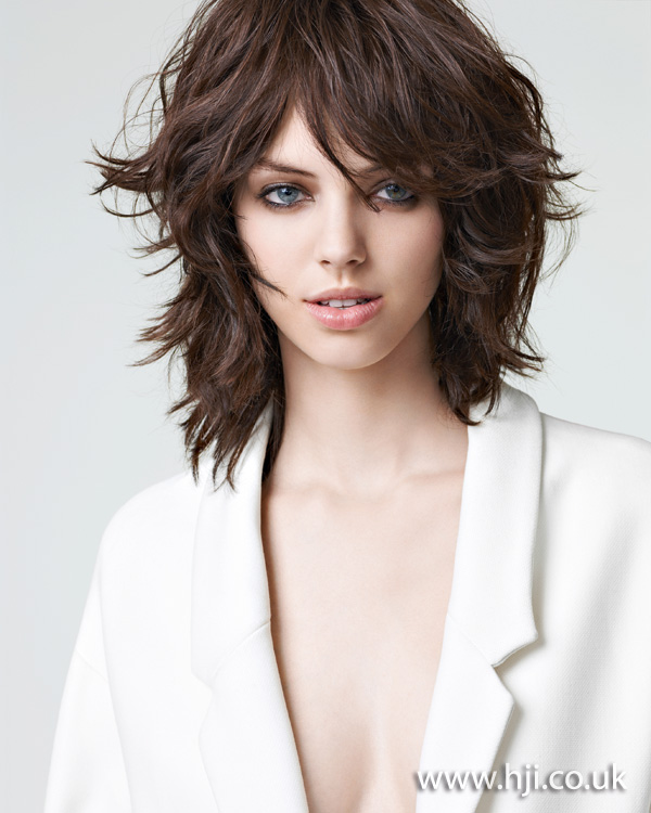 2012 textured midlength brunette womens hairstyle
