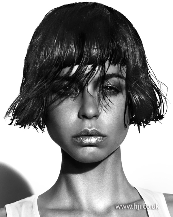 2012 wetlook textured bob hair