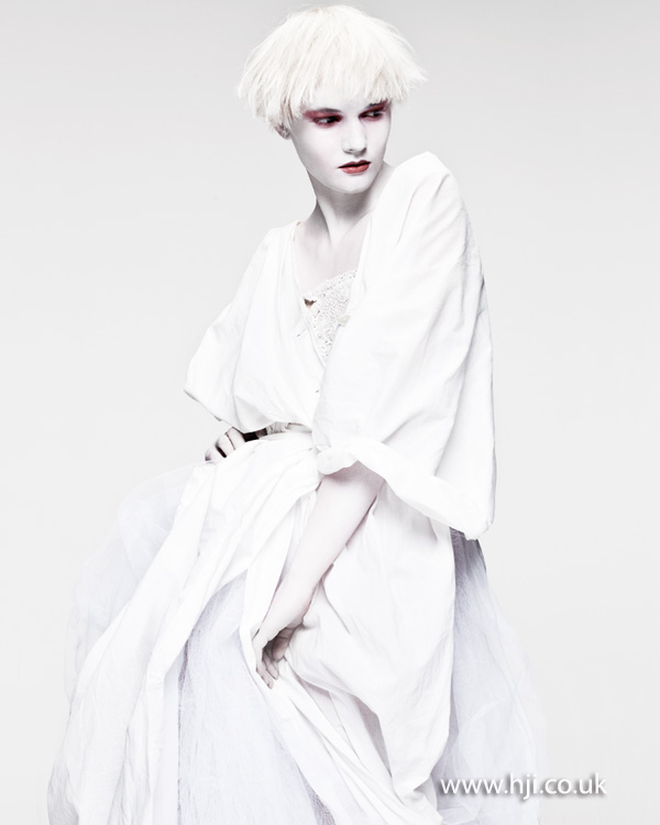 2012 white avant garde short choppy womens hairstyle