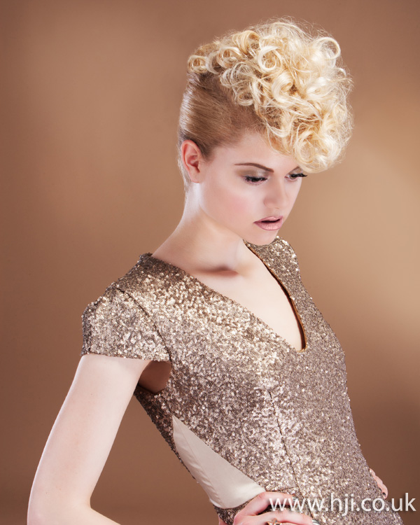 2012 womens blonde curly updo hairstyle