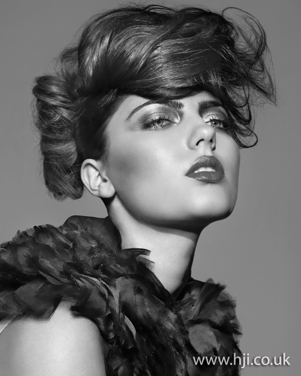 2012 womens brunette updo textured hairstyle