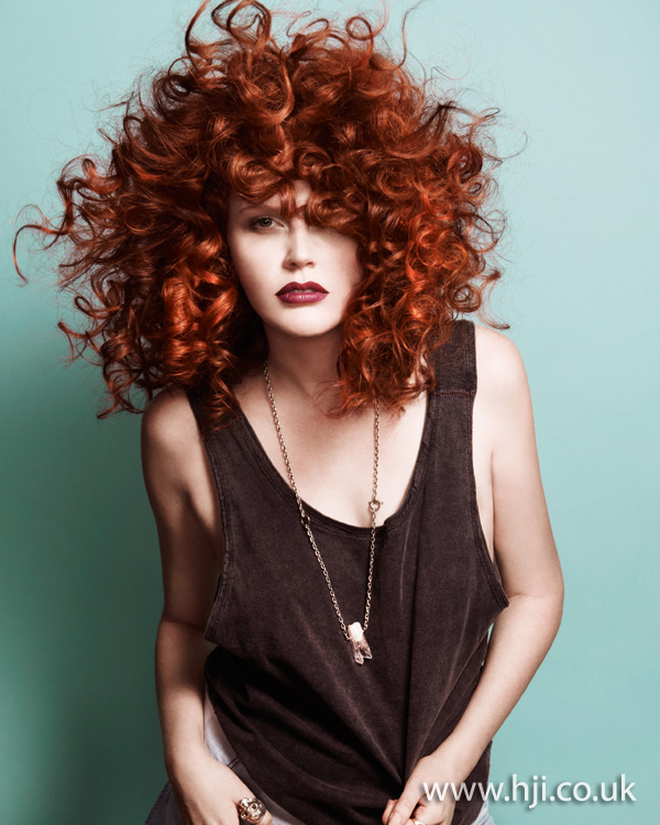2012 womens hairstyle red corkscrew curls